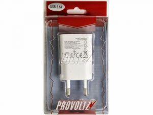 Сетевое зарядное устройство Provoltz USB (2 выхода) (2,1 A) (white)