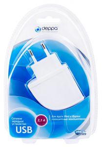 Сетевое зарядное устройство Deppa USB (2,1 A)